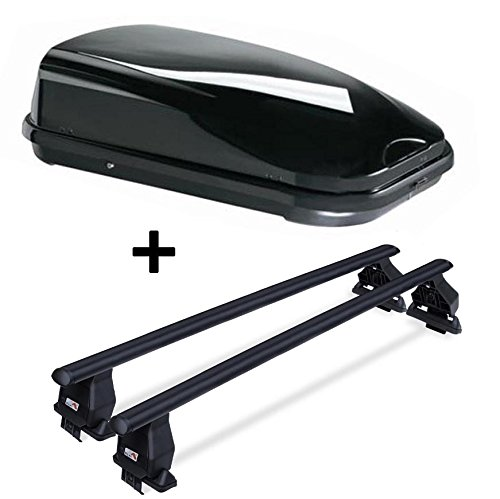 Dachbox VDPFL320 schwarz glänzend 320 Ltr + Dachträger Menabo Tema kompatibel mit Toyota Corolla Verso 2000-2004 Stahl