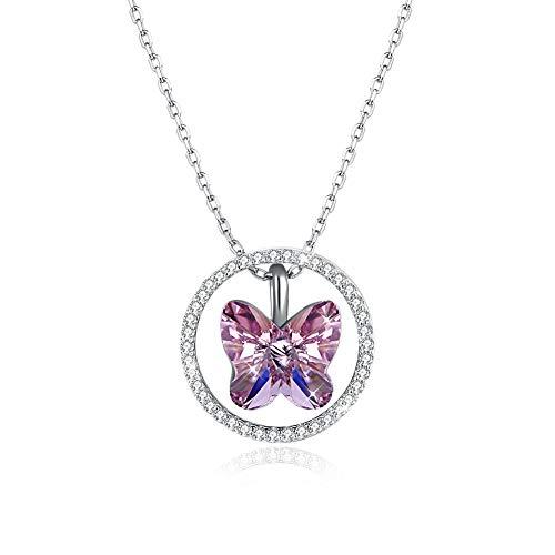 EdorReco Colgante Collar Mujer Mariposa Plata Cristal Hawaianos Fiesta Collares joyeria con Caja de...