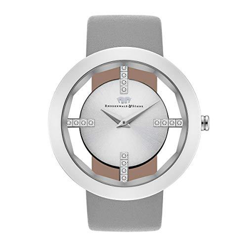 Rhodenwald & Söhne Lucrezia Damenuhr Quarzuhr Edelstahl Silber Silber 3 ATM Präzisions-Quarzwerk Stunde Minute Lederarmband grau - Echtleder-Armband Armband-Uhr analog