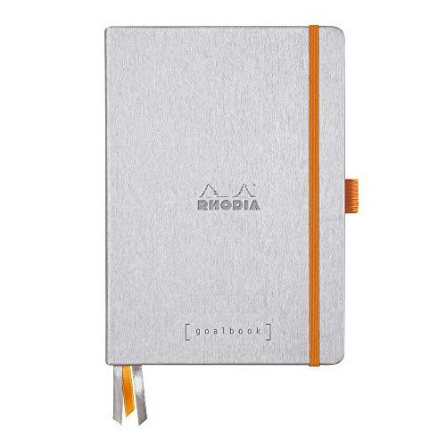 Clairefontaine 118771C – Cuaderno RHODIARAMA Goalbook reborde rígido 14, 8 x 21 cm, 240 páginas de puntos pequeños (DOT), papel marfil numerado 90 g, cierre elástico y portabolígrafos, tapa plateada