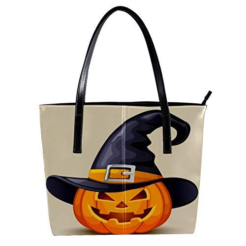 Halloween Einladungskarte Damen Handtaschen, weiches Leder Griff Tasche Griff Satchel Bag für Arbeit Reise Große Messenger Bag
