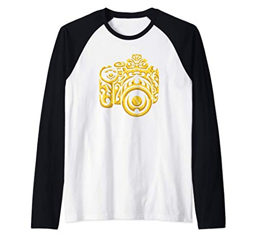 Cámara digital con adorno - fotografía Camiseta Manga Raglan