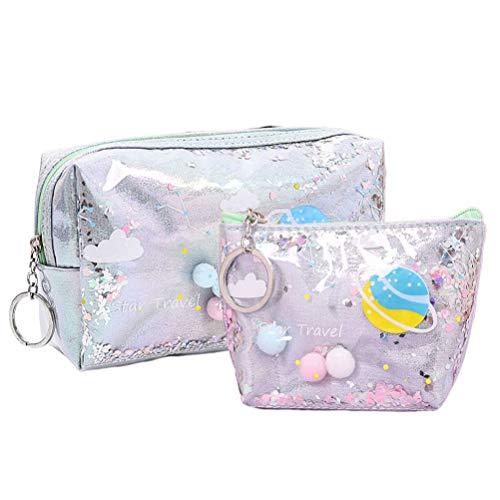 TENYDCOCO 2 pcs trousse de maquillage sac à main set hologramme sac à main changer de sac à main pour les femmes filles-gris