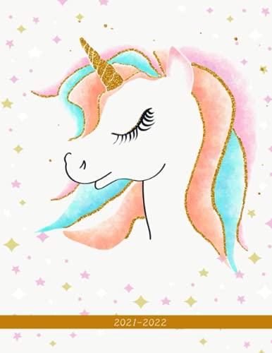 2021-2022: Week-View UK Academic Planner 2021-2022 / School Diary / 17x22cm / Sparkling Unicorn