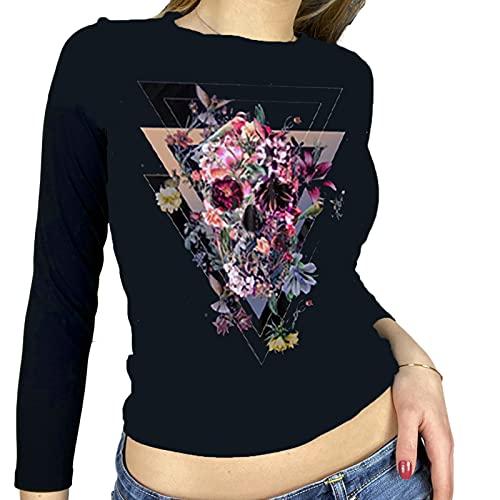 Donne Halloween Skull Skeleton Crop Tops Goth Vintage Manica Lunga T Shirt Y2K 90s E-Girls Stampa Grafica Streetwear, Teschio piccolo fiore, M