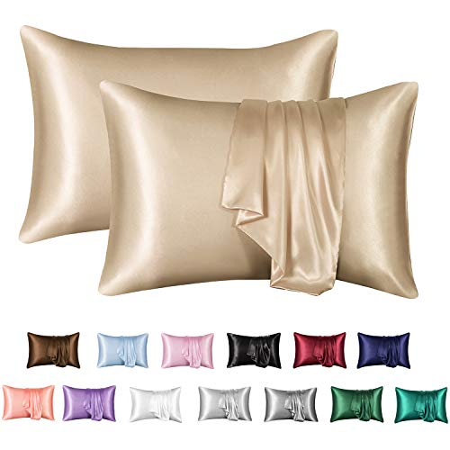 MR&HM Satin Pillowcase Set of 2, King Size Silky Pillow Cases for Hair and Skin No Zipper, 2 - Pack Pillow Cover with Envelope Closure (20x40, Taupe)