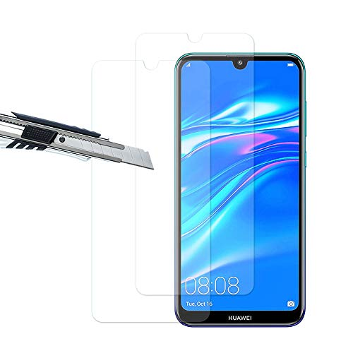 Huawei Y7 Pro(2019) Panzerglas, Displayschutzfolie panzerfolie, Folie gehärtetem Glas,9H Härte,Kratzfest,Glasfolie Glas Schutzfolie für Huawei Y7 Pro(2019) (2 Stück)-klare