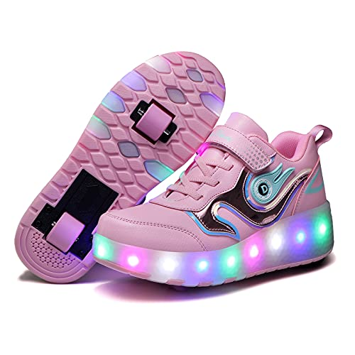 Zapatillas con Ruedas LED Luces Automática Retráctiles Ruedas Zapatos de Skate Roller Deportivos para Niños Niñas Al Aire Libre Moda Gimnasia Zapatos Skateboard,Rosado,40EU