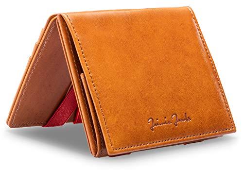 JAIMIE JACOBS Flap Boy - Das Original - Magic Wallet mit Münzfach und RFID-Schutz Magischer Geldbeutel magisches Portmonaie Brieftasche mit Kleingeldfach Herren echtes Leder (Cognac mit Rot)