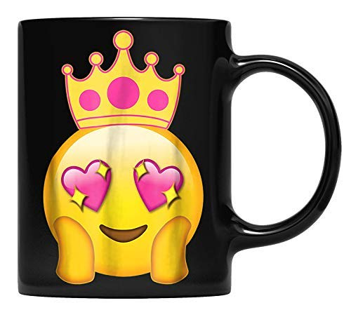 N\A Emoticon Queen Emoji Funny Princess Crown Taza