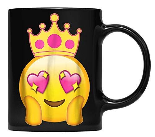 N\A Emoticon Queen Emoji Funny Princess Crown Taza