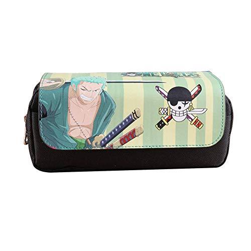 Aristory Anime One Piece Trafalgar Law Luffy Pencil Case Pen Zip Makeup Bag School Supplies(H03)