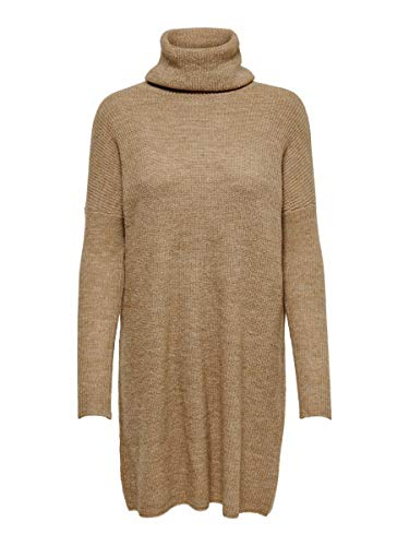Only Onljana L/s Cowlneck Dress Wool Knt Vestito, Marrone (Indian Tan Detail: W. Melange), 46 (Taglia Produttore: Large) Donna