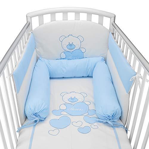 Babysanity® Riduttore Lettino Neonato Completo di Piumone Paracolpi Federa e Copripiumino Sfoderabile Per l'uso Estivo. 100% Cotone -Made in Italy- (Baby Bear Azzurro Con Riduttore Azzurro)