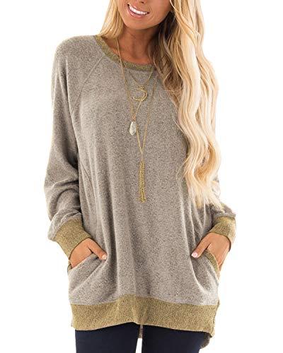 GADEWAKE Damen-T-Shirt, langärmelig, Rundhalsausschnitt, mit Taschen, Blusen, Sweatshirts, Tops - Braun - X-Large