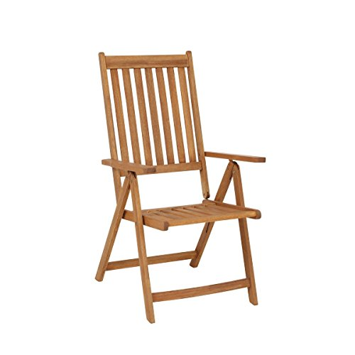 greemotion Klappstuhl Borkum - Holz-Gartenstuhl 7-fach verstellbare Rückenlehne - Relax-Gartensessel zusammenklappbar - Klappsessel aus Akazie massiv - Hochlehner