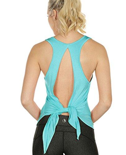icyzone Débardeur de Sport Femme - Tops sans Manches Gilet Dos Ouvert Exercice Yoga Shirt (XL, Pool Blue)