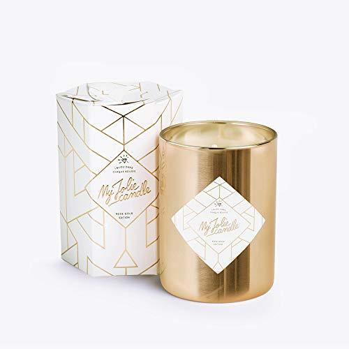 MY JOLIE CANDLE - Bougie parfumée avec Bijou Suprise à l'intérieur - Bijou : Collier en Plaqué Or - Gold Edition - Cire Naturelle végétale - 330g - 70h Combustion