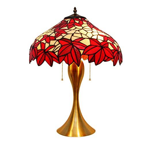 Lámpara De Mesa Tiffany, Lámpara De Cristal De Hoja Roja, Fuente De Luz Led De 12 Vatios, Zócalos De Metal