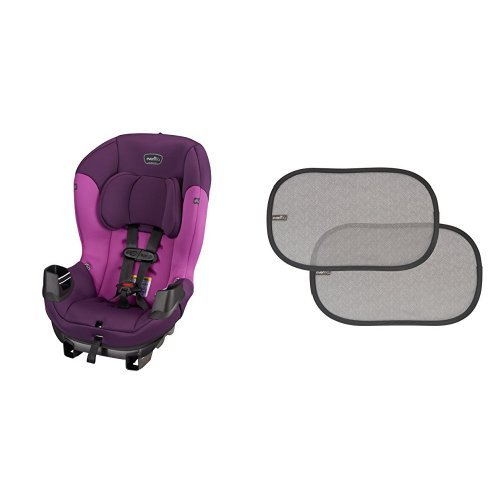 Sale!! Evenflo Sonus Convertible Car Seat, Dahlia with 2 Piece Car Window Cling Shades, Grey Chevron