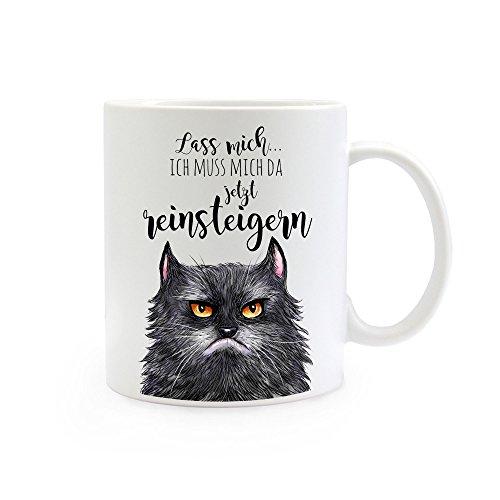 ilka parey wandtattoo-welt® Tasse Becher Kaffeetasse Kaffeebecher Katzentasse Katzenbecher Katze Tasse Katze Becher grimmige Katze mit Spruch Lass Mich. ich muss Mich da jetzt Reinsteigern ts360