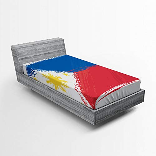 Ambesonne Filipino Fitted Sheet, Artistic Brush Stroke Style Grungy Philippines National Flag Print, Soft Decorative Fabric Bedding All-Round Elastic Pocket, Twin Size, Cobalt Blue Yellow and Red
