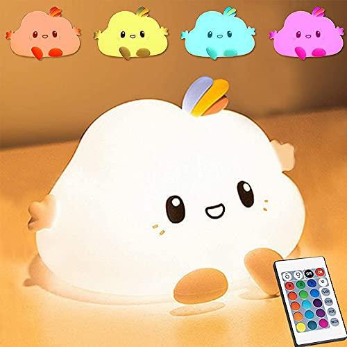 YiYunTE LED Nachtlicht Kinder Tragbare Silikon Baby Nachtlampe Touch Dimmbar Wolke Nachtlicht USB Wiederaufladbare Schlummerleuchten Farbwechsel Tier Nachtlicht für Kinderzimmmer Geschenk Schlaf Deko
