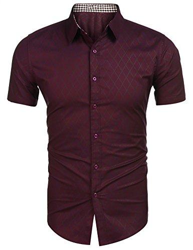 Burlady Koszula męska z krótkim rękawem, krój slim fit, czas wolny, łatwa do prasowania, koszula dla mężczyzn, z krótkim rękawem, na lato