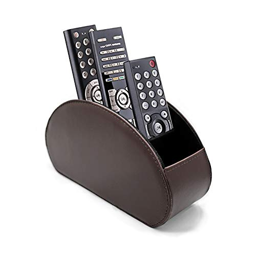 Fosinz Remote Control Holder Organizer Table Desk Leather Control Storage TV Remote Control Organizer with 5 Spacious Compartments (Dark Brown)