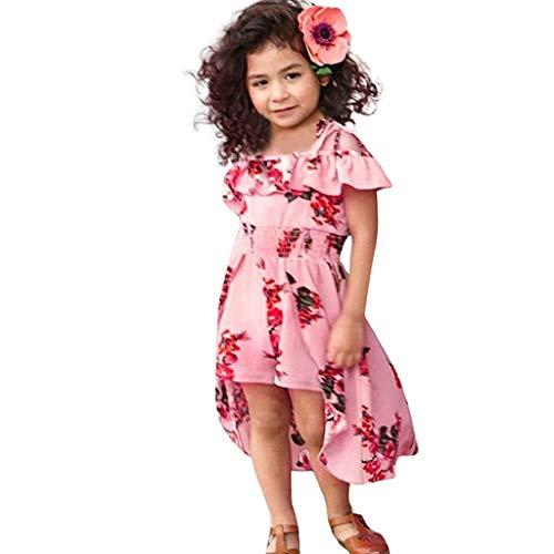 AIni Baby MäDchen Kleidung, Sommer Mode Elegant Kleinkind Schulterfrei Blumendruck RüSchen Hosenrock Outfits Sets BeiläUfiges Strand Festlich Partykleid(120,Rosa)