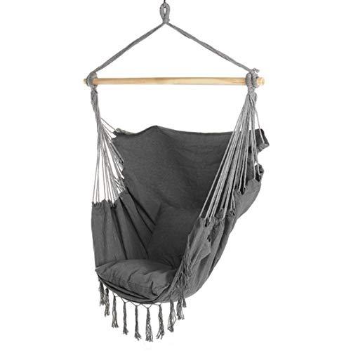 CCLIN Silla de Hamaca Colgante para Exteriores al Aire Libre Camino DE Camping DE Camping 150kg con 2 x Cojines de Asiento-Black