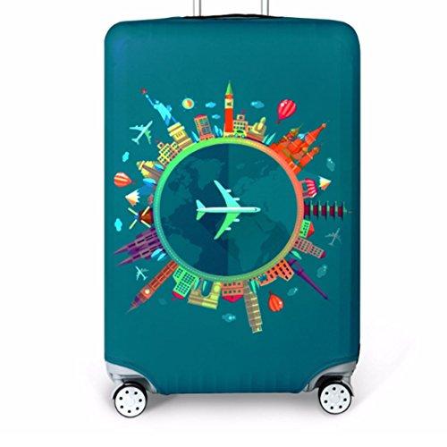 Bestja Elástico Funda Protectora de Maleta Luggage Protective Cover, Lavabile Viaje Equipaje Cubierta Carretilla Caso Protectora Cubierta Cabe 18-32 Pulgadas Equipaje (Viaggio, L)