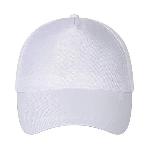 N/B Baseballmütze für die Freizeit, einfarbig, Stickerei für Werbemütze, Reisehut für Sonnenschirm adjustable weiß