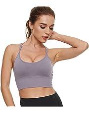 Maylisacc Bezszwowy biustonosz sportowy dla kobiet, wygodne damskie ramiączka odsłaniające biustonosze z wyjmowanymi podkładkami do biegania jogi ćwiczeń fitness