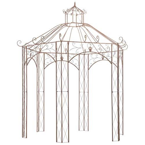 Festnight Gartenpavillon | Metall Pavillon | Rosenpavillon | Eisenpavillon | Antikes Braun Schmiedeeisen 300 x 300 x 344 cm