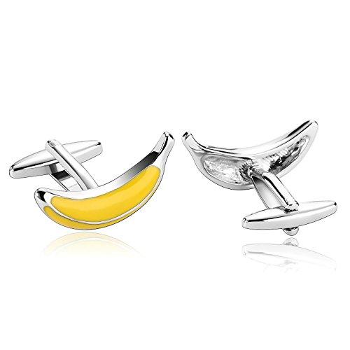 Beydodo Manschettenknöpfe Hemd BusinessGelb Banane Edelstahl Herren Hochzeit Manschettenknöpfe (Cufflinks)