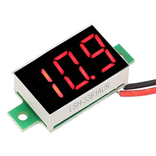 Weikeya Decimal Mini Voltímetro Digital, Metro de voltaje rojo -10 ~+65 ℃ DC 2.4-30V -10 ~ 65 ℃ Hierro y Plástico
