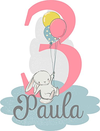 wolga-kreativ Bügelbild Applikation Aufbügler 1 2 3 4 5 6 Geburtstag Hase mit Luftballon Name Buchstaben Zahl Mädchen zum selbst Aufbügeln A5 Geburtstagsshirt Kindergeburtstag Bügelbilder Kinder
