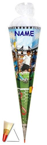 alles-meine.de GmbH Schultüte - Soccer 100 cm - incl. Namen - mit Holzspitze / Tüllabschluß - Zuckertüte Roth Fußball Fussball Tor Bälle Torwart Sport Stadion