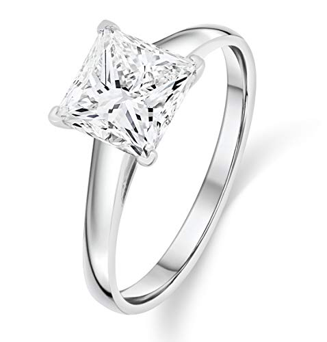 Buy Jewels 14k Gold Solitaire Princess Cut AAA+ Quality Swarovski Cubic Zirconia Engagement Ring (White-Gold, 4.5)