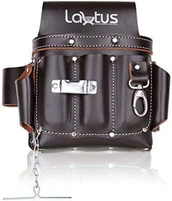 LAUTUS Top Full Grain Leather Tool Pouch Bag Electrician Contractor Electric Bag 10 Pockets product image