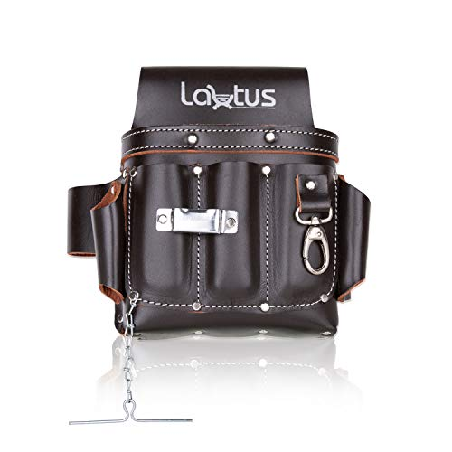 LAUTUS Top/Full Grain Leather Tool Pouch Bag | Electrician/Contractor, Electric Bag | 10 Pockets | 100% LEATHER