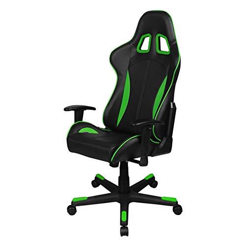 Verstellbarer Gaming-Stuhl Bürostuhl mit hoher Rückenlehne, pneumatischer Hebestuhl Ergonomischer Ledersessel mit Rückenlehne Home Game Drehstuhl, Armlehne anheben-Black Green