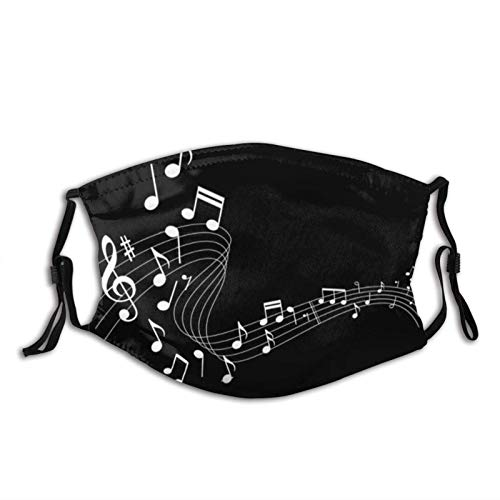 Music e Funny Music-Face Mask with 2 Filters, Reusable&Washable Balaclava, for Men Women Adult&Teens-Wave Music ES 5