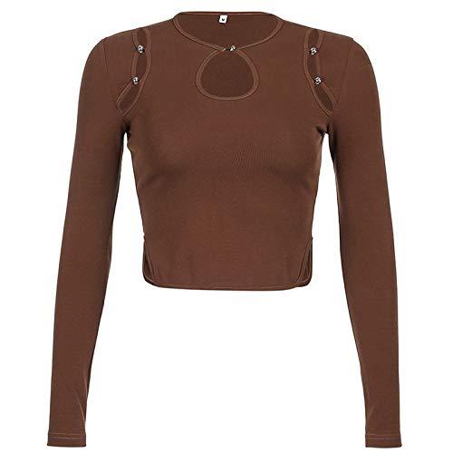 Whitzard Camiseta de manga larga con cuello en V para mujer. Botón de tuerca de perla marrón S