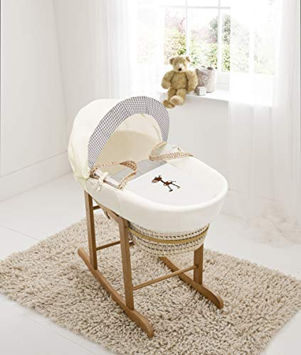 Brown Giraffe Palm Moses Basket &Deluxe Natural Rocking Stand