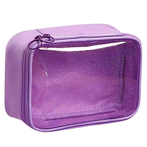 ZHANGCHI Trousse De Maquillage Mode Motif Transparent Étoile Sac Portable Toilette Multi-Usage Clearwindow Sac Cosmétique Sac De Maquillage pour Voyage,Violet