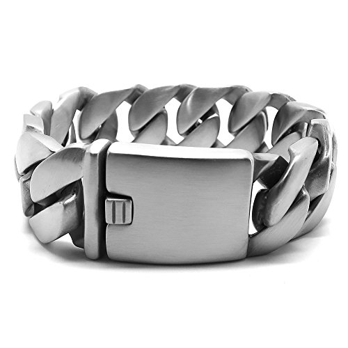 BOBIJOO Jewelry - Grote Imposante Armband Man Tule Gaas Plat Staal, Mat, Biker