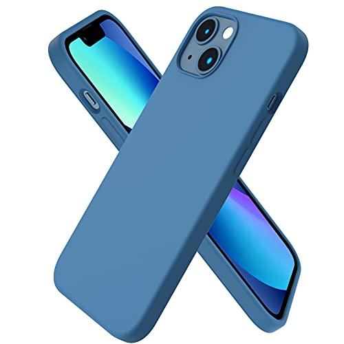 ORNARTO kompatibel mit iPhone 13 Silikon Hülle 6,1, Hülle Ultra Dünne Voller Schutz Flüssig Silikon Handyhülle Schutz für iPhone 13(2021) 6,1 Zoll-Blau