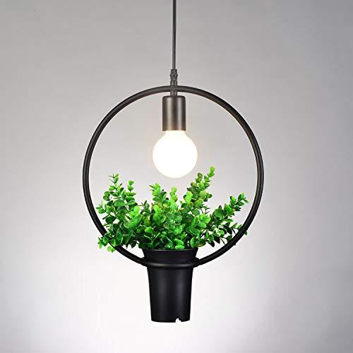 ACHICOO LED industriële stijl smeedijzeren plant hanglamp voor decoratie zonder lichten, rond